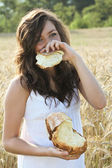 Happy girl covering her smile — Stock Photo