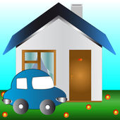 The car and the house — Stock Vector