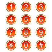 Red numbers icons — Stock Vector
