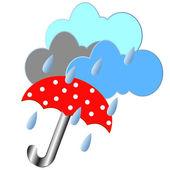 Red umbrella with the rain — Stock Vector