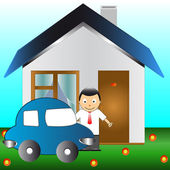 The car, man and house — Stock Vector