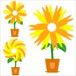 Stock Vector: Flowers in a pots