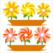 Stock Vector: Set flowers in a pots