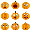 Stock Vector: Nine pumpkins