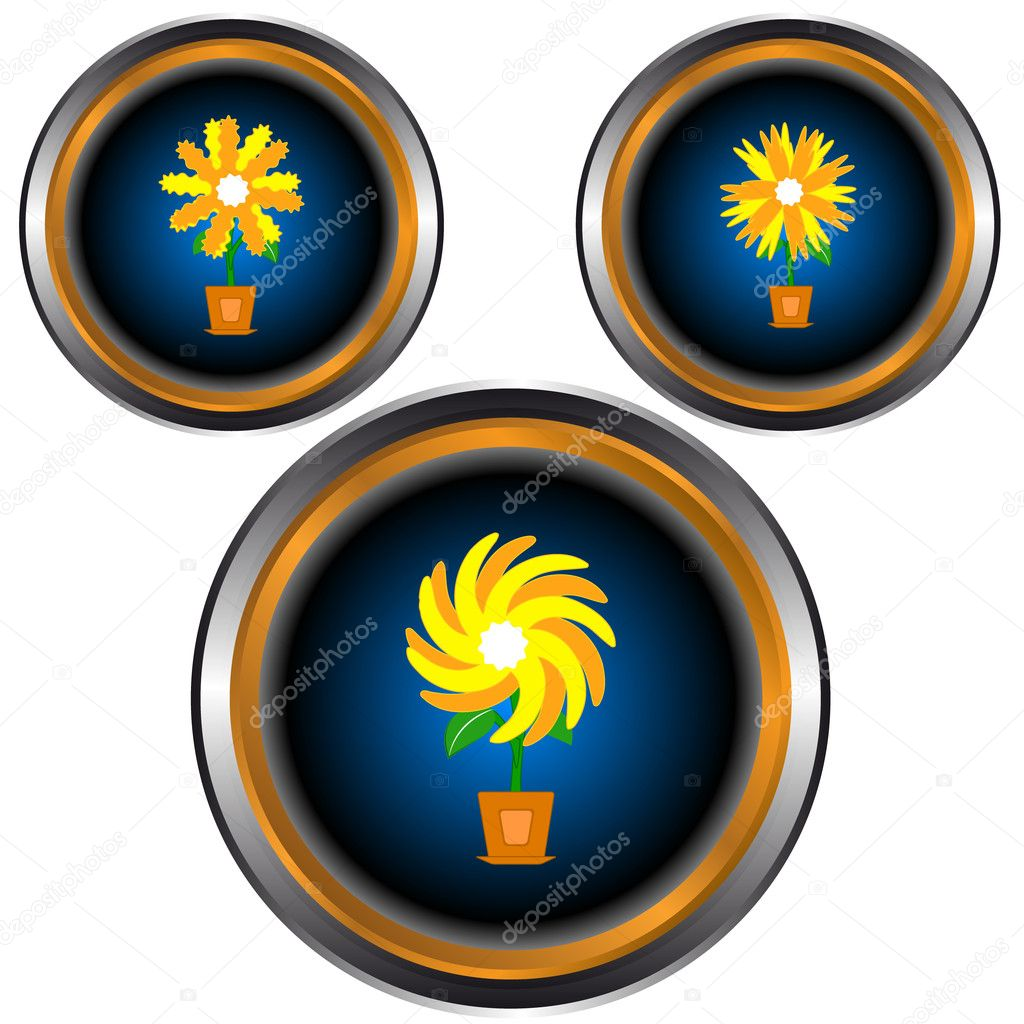 Web icons with three different flowers in pots  Stock Vector #11813394