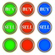 Green red and blue buttons - Stock Vector