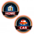 Buttons home and car — Stock Vector