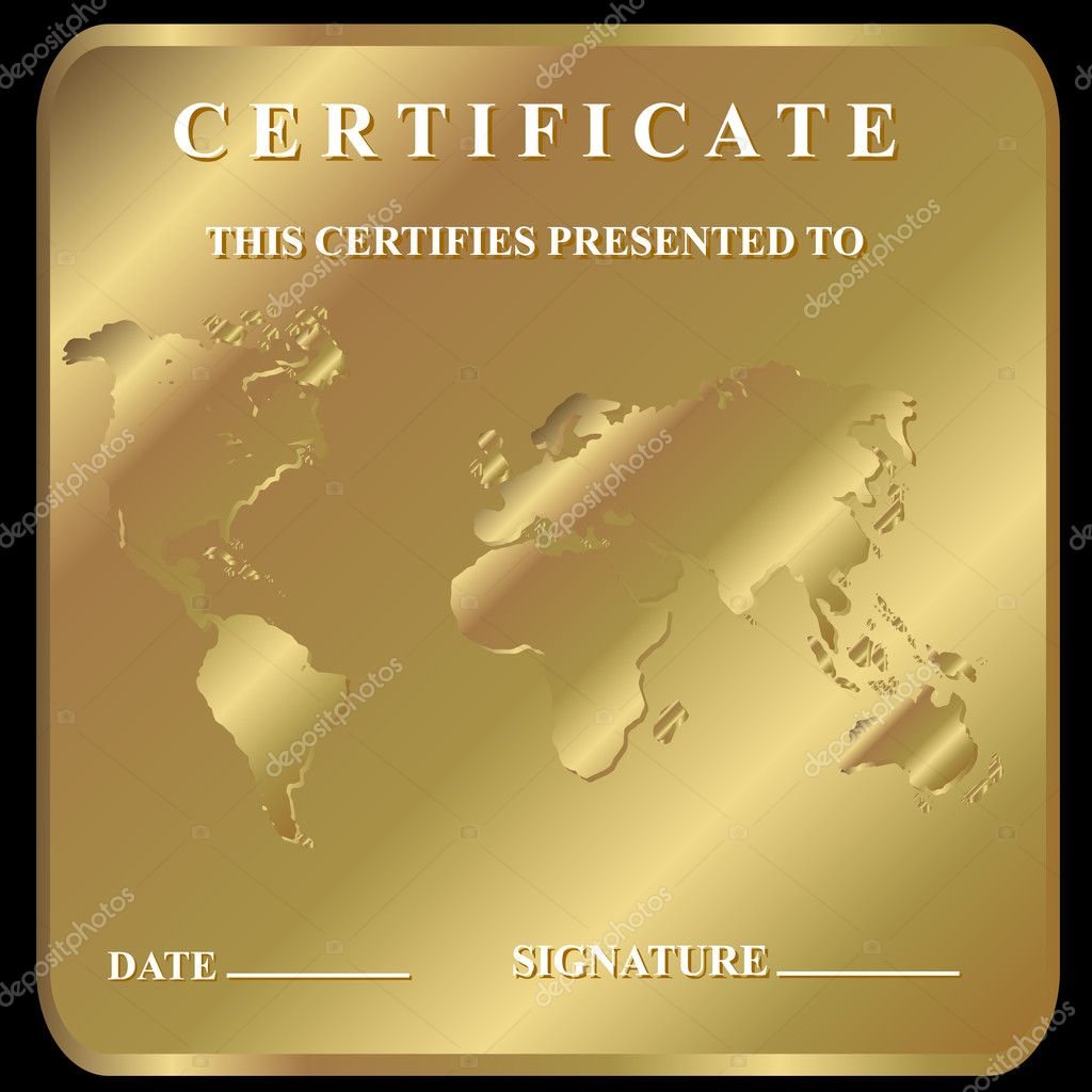 The certificate in unique style on a gold background — Stock Vector #11962092