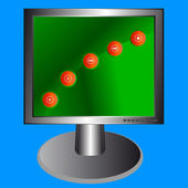 El monitor con iconos — Vector de stock