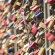 Power Love. Padlocks with lovers name on chained to the Hohenzollern Bridge in Cologne, Germany 06. July 2012 — Stock Photo