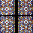 Stained-glass window in Catholic temple — Stock Photo