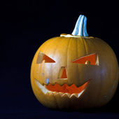 Halloween pumpkin on black — Stock Photo