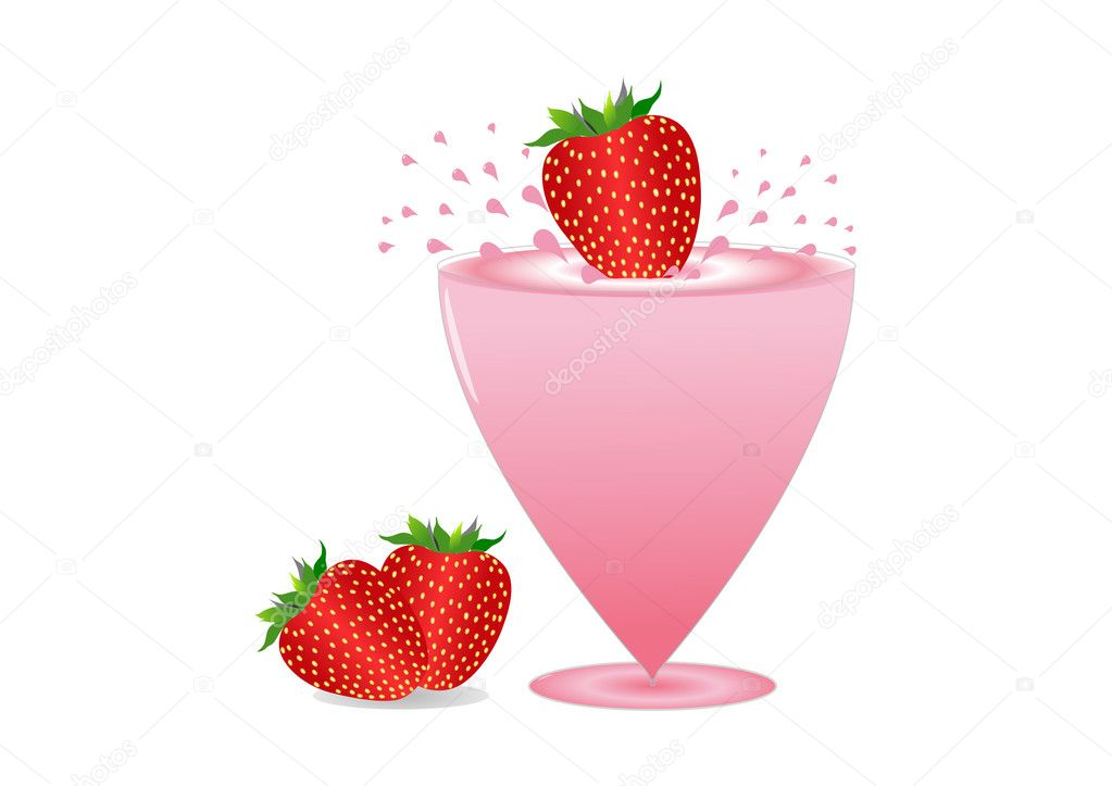 Fresh strawberries splashing in milkshake drink  Stock Photo #11145866