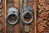 Old figured wooden door — Stock Photo