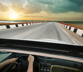 Car goes on road in country — Stock Photo