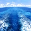 Blue Water Wake Pattern Behind Marine Vessel — Stock Photo
