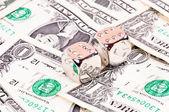 Dolarů a diamantové kostky — Stock fotografie