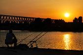 Sunset fishing — Stock Photo
