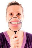 Ząb na powiększające — Zdjęcie stockowe