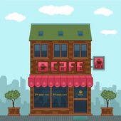 Facade of a cafe — Stock Vector