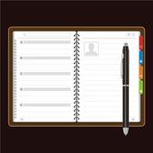 Open personal organizer Vector — Stock Vector