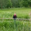 Young boy playing in the fields - Stock Photo