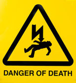 Danger of death sign yellow and black — Stock Photo