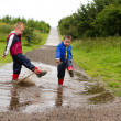 Stock Photo: Little boy splashing in puddle