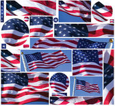 American Flag Buttons and Banners — Stock Photo