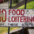No food or loitering sign in Portland Oregon - Stock Photo
