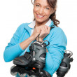Woman with skates — Stock Photo