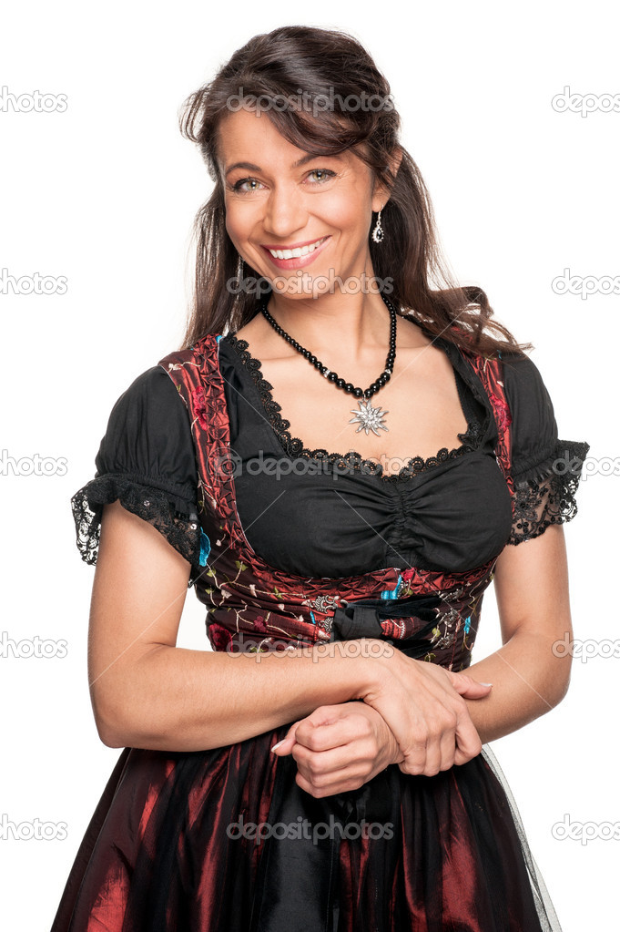 Full isolated woman with traditional skirt — Stock Photo #11819246