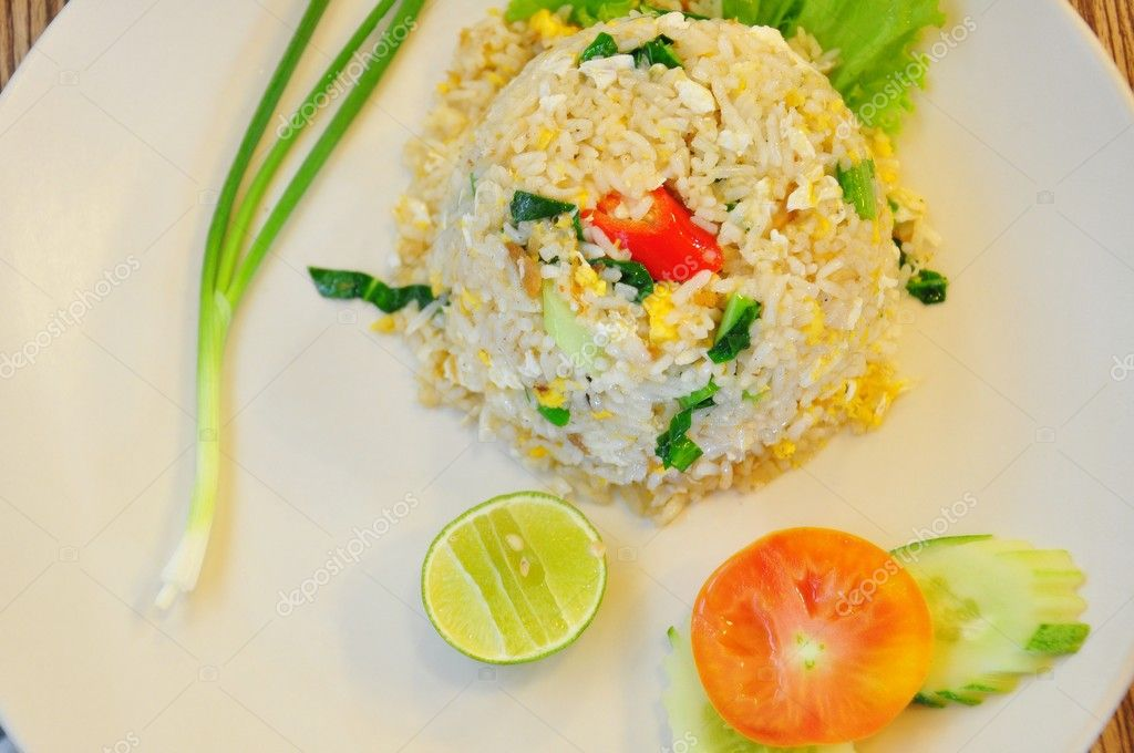 A close up of fried rice with salted fish. — Stock Photo #11024412
