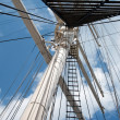 Port of Hamburg 2012 - main mast of a sailing ship — Stock Photo