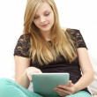 Casual Young Woman with Digital Tablet - Stock Photo