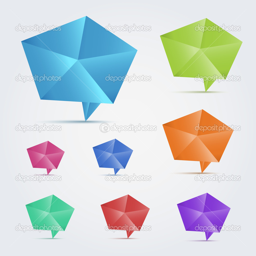 Set of 8 colorful origami speech bubles. This vector image is fully editable. — Stock Vector #11414064