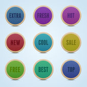 Set of 9 high detailed rounded stickers. — Stock Vector