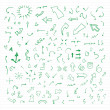 Set of green vector hand drawn arrows. — Stock Vector