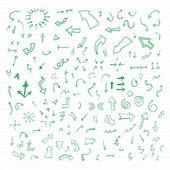 Set of green vector hand drawn arrows. — Stock Vector