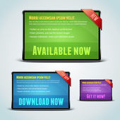 Set of 3 download banners for your website. — Stock Vector
