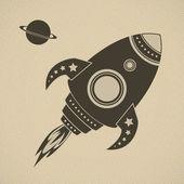 Vintage vector rocket in space — Stock Vector