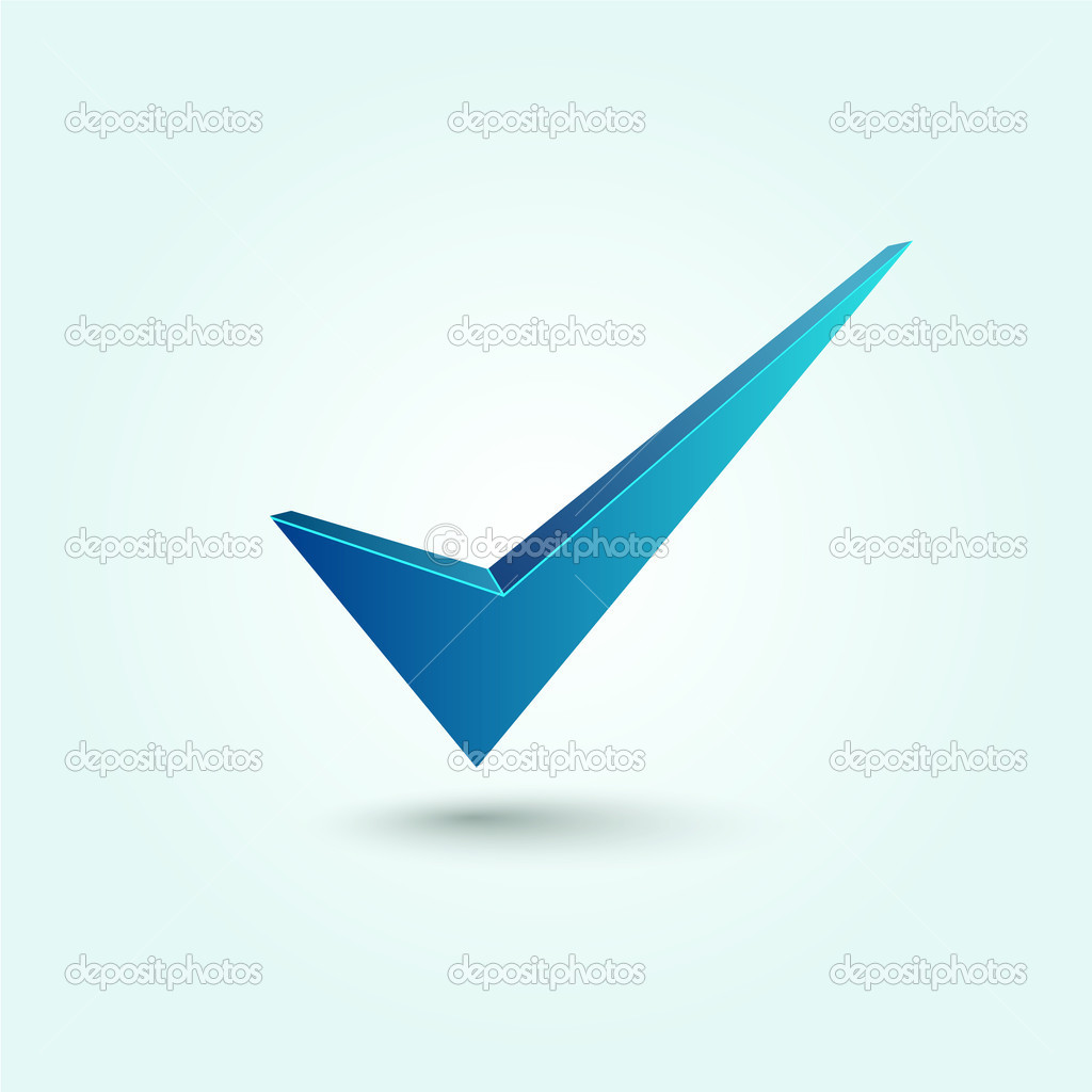 Blue check mark symbol isolated on blue background — Stock Vector #12050933