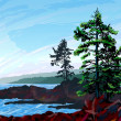 Stock Vector: West Coast Landscape Painting