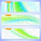 Abstract Banners With Waterdrops — Stock Vector