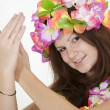 Stock Photo: Teenage girl dressed as Hula Girl