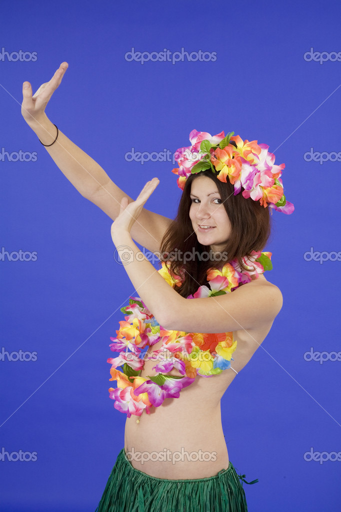 Teenage girl dressed as Hula girl — Stock Photo #10945882