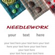 Various sewing supplies with place for your text. — Stockfoto #11002157