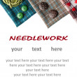 Various sewing supplies with place for your text. — Stok fotoğraf