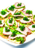 Closeup ham, salad and parsley canapes — Stock fotografie