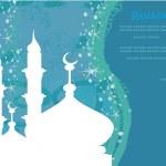 Ramadan background - mosque silhouette vector card — Stock Vector